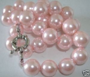 Comeliness AAA 10mm pink shell pearl necklace 18(China (Mainland))