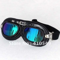 Folding Goggles leather frame Motorcycle Glasses with color Lens