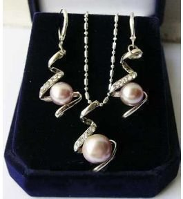 Pink pearl Jewellery necklace earring set(China (Mainland))
