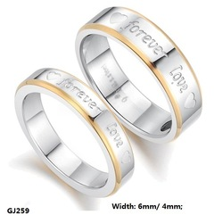 "Fashion Jewelry Stainless Titanium Steel Rings Silver Golden Hearts ""Forever Love"" Couple Rings Wedding Engagement Rings GJ259(China (Mainland))"
