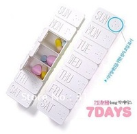 F1 Free shipping! Plastic Korea Funyz Story Long Drug Case, 7 days pill case   10pcs/lot