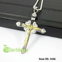 Free shipping +Wholesale Lovers'  Stainless Steel Gold Jesus Crystal Cross Chain Pendant Necklace Cool Gift New ID:3446
