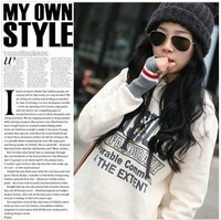 Top  sell Wholesale & Retail Women's Embellished Long Style Hoodie/cartoon  Hoody/Cotton  Letter Coat/Free Shipping