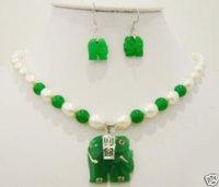 Beautiful Set Green Jade Elephant pendant pearl necklace earring #vc11