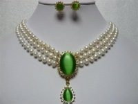 beautiful white pearl green opal earrings pendant necklace set