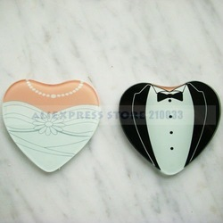 Heart Shaped Gown &amp; Tuxedo Coasters (Set of 2) for Wedding Party Favors Gift Stuff Supplies Free Shipping Sale(China (Mainland))