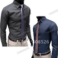 2013 New Fashion Men's Stripe Stylish Casual Slim Fit Long Sleeve Dress Shirts 2Color Black Blue M/L/XL/XXL free shipping 3654