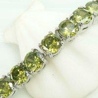 FREE SHIPPING,wholesale 925 silver natural 6MM Green Peridot Gems Stones bracelet 7 inch,925 silver jewelry,925 silver bracelet