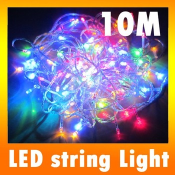 Holiday lights 10M 100 LED String Multi-color Xmas Part Wedding Festive Night Lights 220V  5PCS/LOT,Fast Shipping B10009