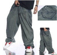 Free shipping !!!  Hot sale 2014 Fashion Men HIPHOP high-grade 100% cotton light blue loose skateboard jeans
