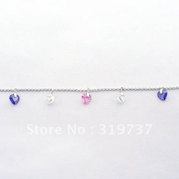 Colorful stones bracelet, 925 sterling silver with cz