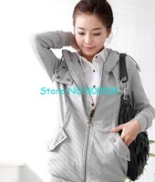 Free shipping!Korea Fleece Women&amp;#39;s Hoodie Coat Sweatshirt Jacket Warm Outerwear,gray,1pcs/lot