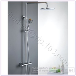 Retail- Luxury High Quality Brass Head Rain Shower Set, Thermostatic Mixer Overhead Shower Set, Wall Mounted, Free Shipping(China (Mainland))