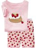 PS79, 2012 Free Shipping, Strawberry, Wholesale Baby/Children 100% Cotton Rib short sleeve pajamas/sleepwear sets for 2-7 year.