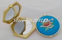 Free shipping! WHOLESALE 24 pcs Handmade Embroidery silk Compact mirror hand Mirror/portable pocket cosmetic mirror