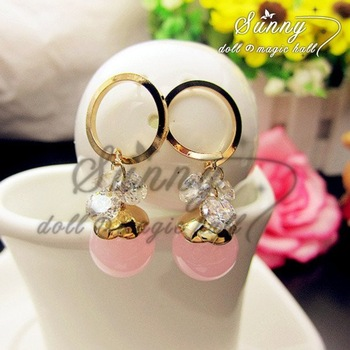 Min.order $10(mix order)Fashion Simple14K Rose Gold Plated Pink Drop Earrings(RZ0034)