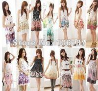 5Pcs Hot  2012 Dress Colorful Stripes  Women Fashion Summer Chiffon Dress Beach Bohemian Dresses Average Size Colour Randomly
