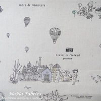 Free Shipping! Cotton Linen Fabric Printed  A Journey To Utopia - 140cm x 100cm N1221
