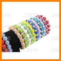 Free Shipping 36pcs/lot Jewelry Charm Shamballa Clay Crystal Disco Ball Beads Mixed Handwork Size Adjustable Bracelet SHB-1520