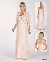 New style!With Jacket Chiffon Beaded Full-Length Halter Custom-Made Fashion dress Mother Of The Bridal Dress 2013