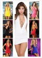 Free Shipping  Sexy Cowl Neck Line Open Back Mini Dress Clubwear 6 Colors Party Dress #908753