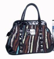 HB204 BB Modern Fashion Colorful stripe HANDLE BAG Wholesale  Drop shipping  Free shipping