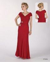 New style!2012 hot sale V-neck Red Full-Length Beaded Asymmentric Custom-Made women new dresses