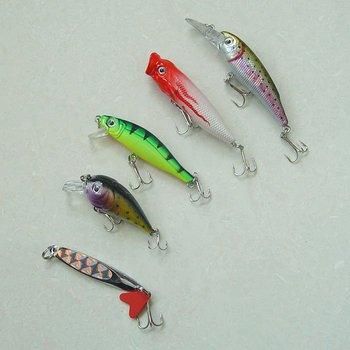 Free shipping,New arrival, Fishing Lure, hard plastic fish,  Minnow/Popper/Spinner, 5g-7g/5cm-9cm, 10pcs/lot