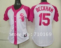 Free Shipping Chicago White Sox #15 BECKHAM Women Pink color baseball jerseys mix order