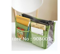 Free Shipping Wholesale NEW Makeup / MP3 Phone Storage Organizer Multi Bag Purse Hop Bag Handbag Insert, Bag in Bag,200pcs/lot