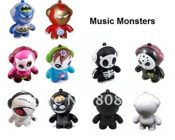 Free shipping Wholseale Monster Style Mini speaker  fashion portable Vibrate Speaker  Portable USB Speaker Sound box  100pcs/lot