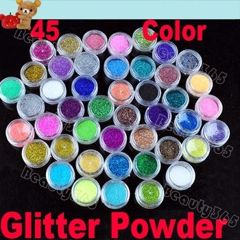 High Quailty 45 Colors Shine Nail Glitter Powder Nail Art Fine Dust Set Free Shipping 2056