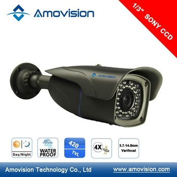 "AM-B339 5PCS 1/3"" SONY CCD 420 TVL,3.7-14.8mm 4X Optical Zoom Auto Focus lens,CCTV 50m IR  Analog Camera Free shipping"