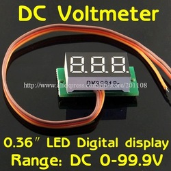 "Freeshipping 5pcs/lot F728B# 0~100V DC Digital Display Voltmeter Three Bit Red 0.36 ""LED Voltage Meter(China (Mainland))"