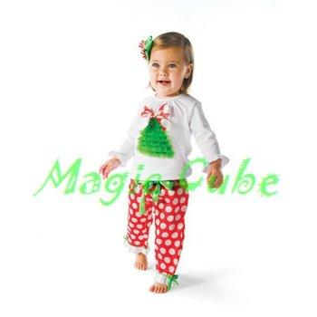 Christmas Children's clothing set ,Baby Christmas Set  White red dots suit t-shirt +pants 6set /lot