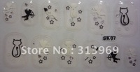 Black white, Rhinestones 3d nail art sticker, flower diamond nail decoration,Clear crystal sheet  nail strips