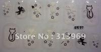 Black white, Rhinestones 3d nail art sticker, flower diamond nail decoration,Clear crystal sheet  nail strips