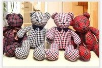 Beautiful Plush Bear Plaid tactic bear cute cloth bear doll classic checkered Limited