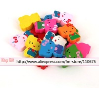 Retail Packing DIY Beads Hello Kitty Design Wooden Bracelet Bead Muliticolor Painted Mixed Free Shipping