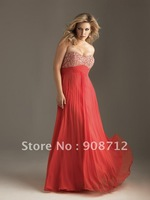 strapless Chiffon A-line plus size evening dress with beads and crystals