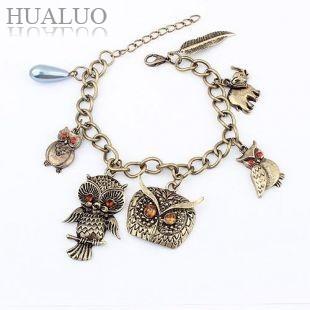 Korea Fashion Alloy Bronze Owl/Elephant/Leaves Pendant Bracelet For Girl B64