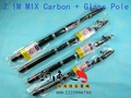 Free shipping 100% New fish pole 2.1M fishing rod  Carbon Steel rod fishing device (MIX Carbon + Glass) Giftfishhookline