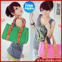 free shipping Sale women's bag casual lovely tide 2012 fashion new retro candy color canvas shoulder bag handbag for lady BB003