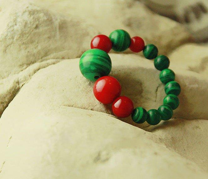 Wholesale free shipping Natural coral malachite ring(China (Mainland))