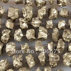 "Free Shipping! Natural Iron Pyrite Freeform Gemstone Loose Beads 16"" for Diy Jewelry Necklaces Bracelets Earrings Wholesale(China (Mainland))"