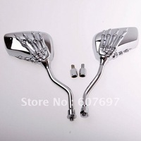 MOTORCYCLE CHROME SKULL CLAW SHADOW CHOPPER SIDE REAR VIEW MIRRORS PAIR