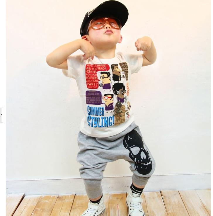 Wholesale ISSOKIDS pants children kids pants Loveisso gray skull printed children haroun pants 4pcs /1lot  ...