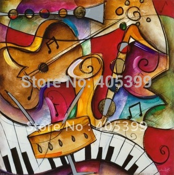 Free Shipping ,  Wall  Art , Abstract   Oil Painting  On Canvas ,Music  Painting  WDA304