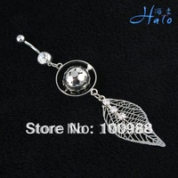 Navel Ring 10PCS/Lot Free Shiping BJ00552 metal Crystal Fashion Stainless Steel Piercing Rhinestone Body Jewellery