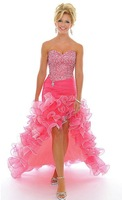 2012 Strapless Party Gown Beaded Sequin Ruffled High Low Ruched Beaded Formal Evening Bridesmaid Cocktail Prom Dresses